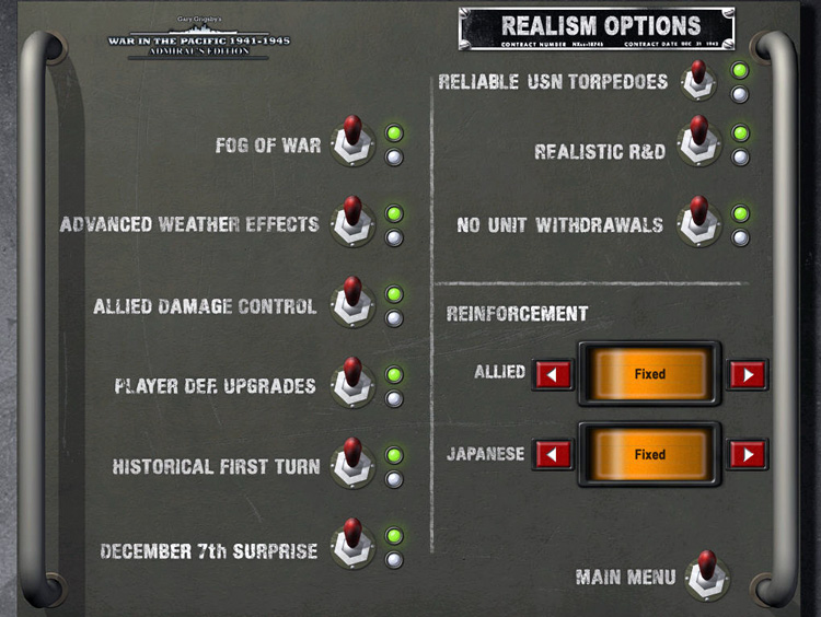 Realism Options - War in the Pacific: Admiral's Edition
