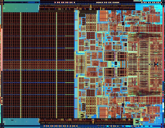 Processor die from the Intel® Core 2 Duo processor and the Intel® Core 2 Extreme.