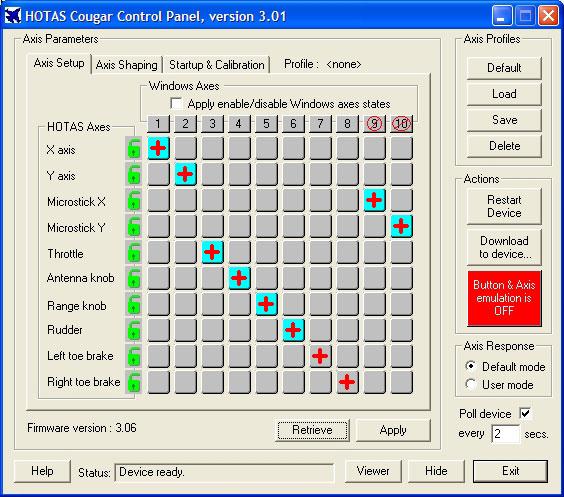 HOTAS Cougar control panel