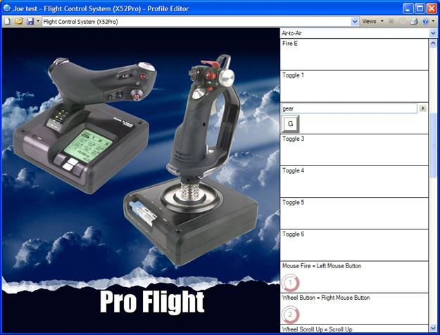 Saitek X-52 Pro Flight product view of the editor