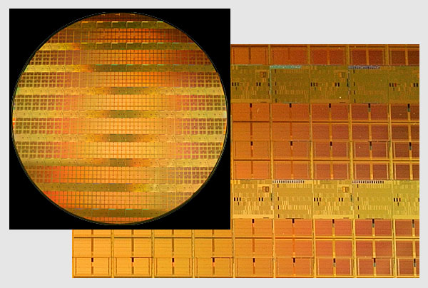 Intel® 300 mm wafer with 45 nm shuttle test chips