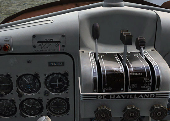 FSX Beaver with throttle mapped to the left lever of the G940 throttle and the prop RPM mapped to the right lever of the throttle.