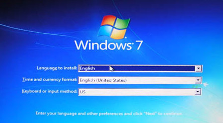 Welcome to the Windows 7 installation!