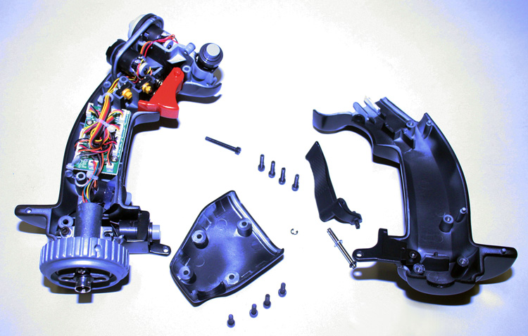 The HOTAS Warthog stick grip disassembled