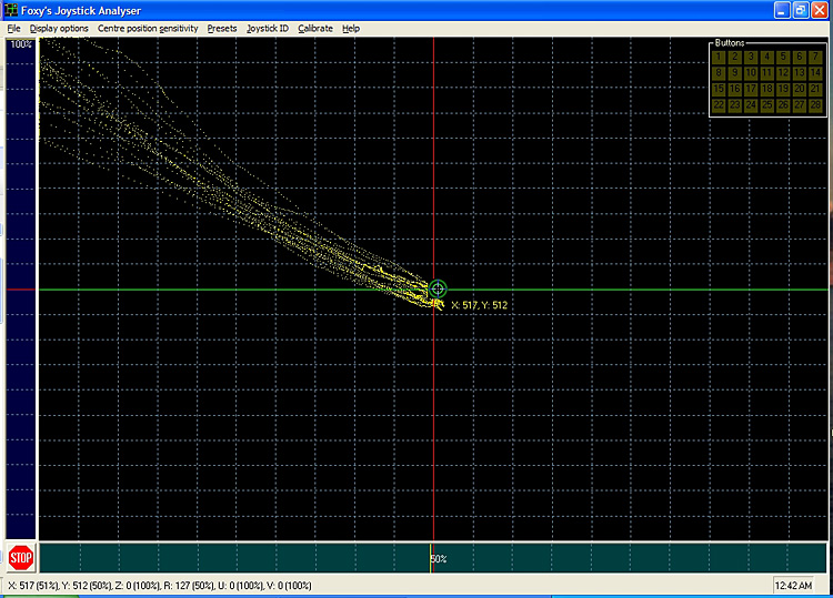 Motion Test - Saitek X-65F Pro Flight center to up-left 10x, eyes closed