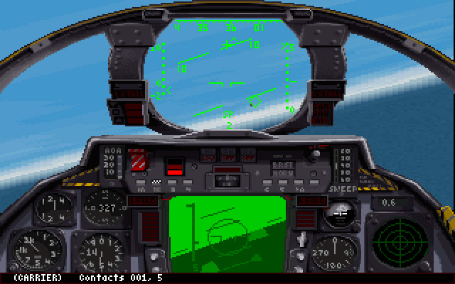 MicroProse's F-14 Fleet Defender. The first flight sim capable of sending a Phoenix to the bad guys 100nm away.