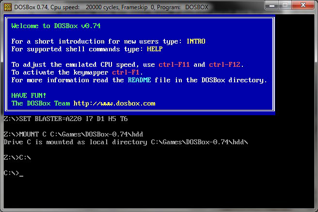 The DOSBox interface.
