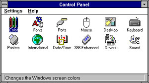 "Mac fans haven't quit laughing yet -- Windows 3.11 Control Panel and the ""little pictures"""