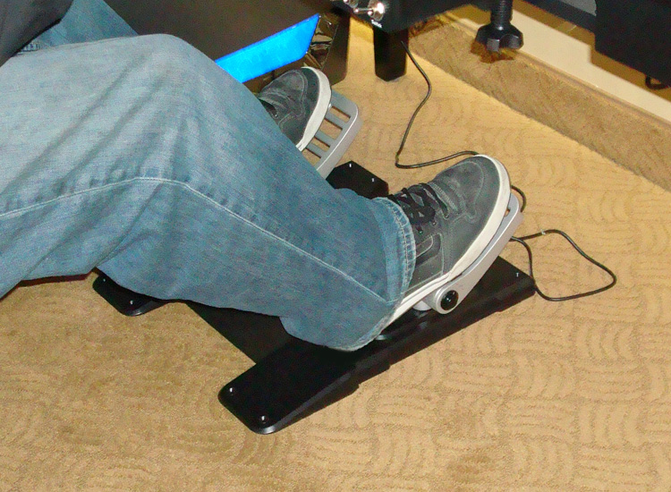 Pro Flight Combat rudder pedals with heels resting on plate
