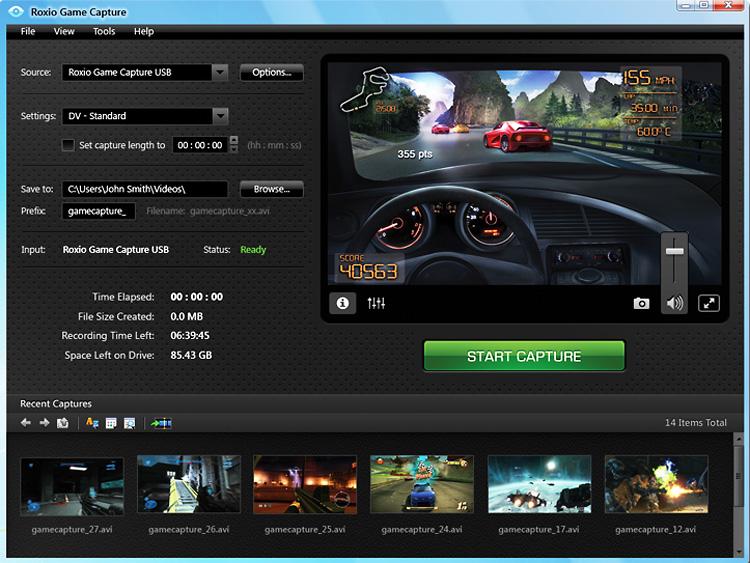Roxio Game Capture screen