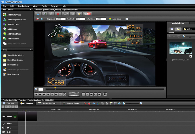 Roxio VideoWave editing screen