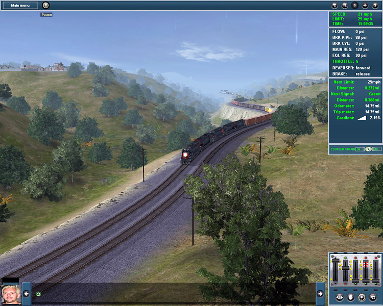 Trainz Simulator 12 - A long freighter winds out of sight.
