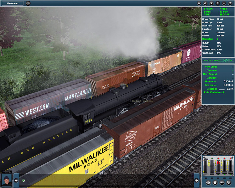 Trainz Simulator 12 - Steam locomotive making it's way out of the railyard.