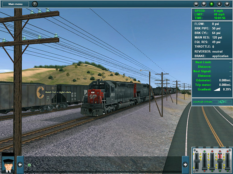 Trainz Simulator 12 - The Cab Control interface with the information dialogs down the right.