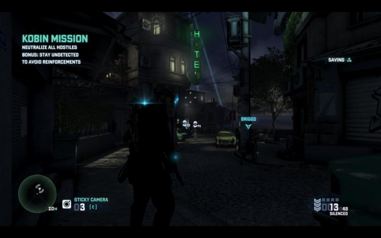 Sam's HUD at the start of a coop mission, with two enemies already highlighted