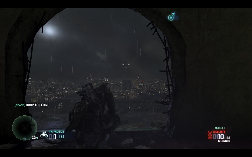 London on a stormy night, as seen from an abandoned paper mill where Fisher finds a WMD in the single player campaign
