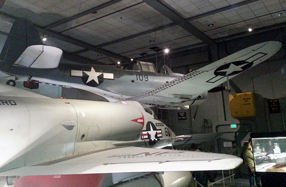 WWII and jet below deck in the naval air section at the Smithsonian Air & Space Museum