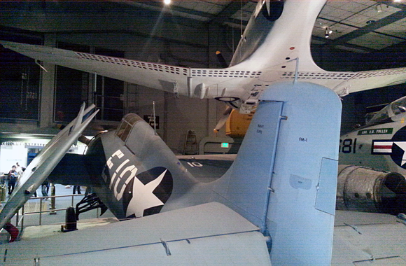 Below deck in the naval air section at the Smithsonian Air & Space Museum