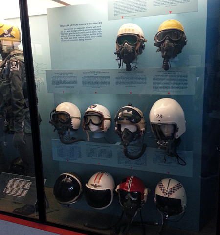 Air combat helmets at the Smithsonian Air & Space Museum