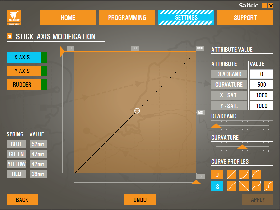 STICK AXIS SETTINGS