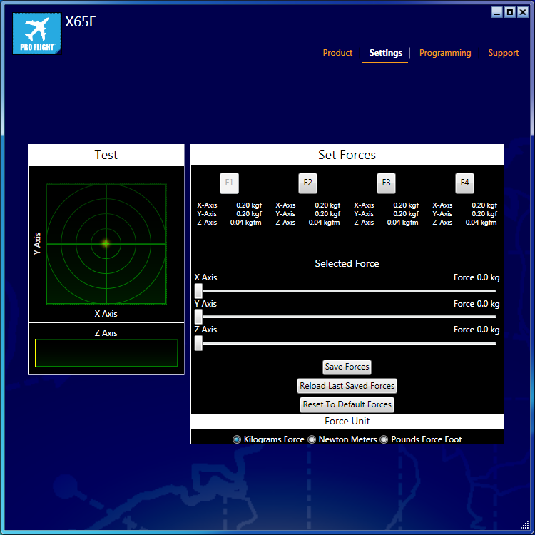X65 SETTINGS PAGE